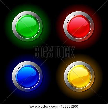 Set of shone colour buttons. Vector illustration