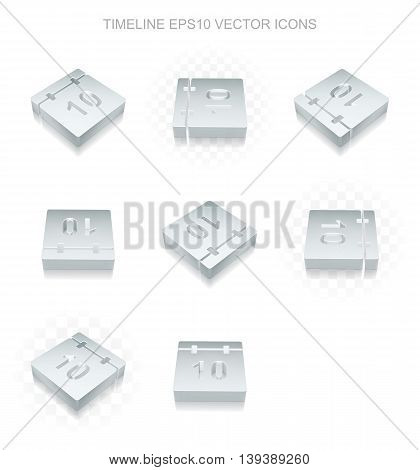 Time icons set: different views of flat 3d metallic Calendar icon with transparent shadow on white background, EPS 10 vector illustration.