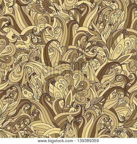 Ornamental colored seamless floral pattern with doodle flowers. Vector. Beige golden tone.