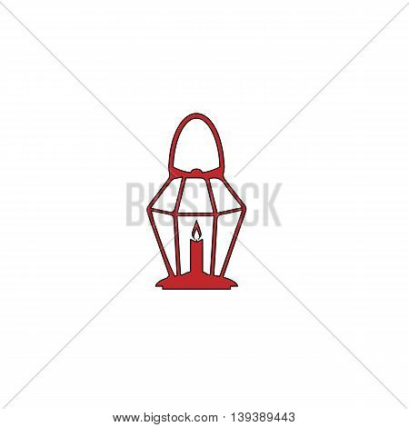 Lantern. Red flat simple modern illustration icon with stroke. Collection concept vector pictogram for infographic project and logo