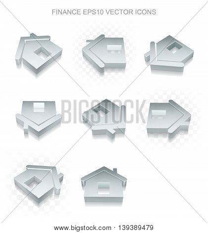 Business icons set: different views of flat 3d metallic Home icon with transparent shadow on white background, EPS 10 vector illustration.