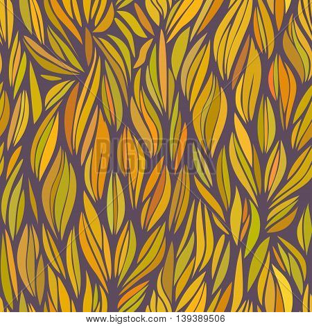 abstract orange wavy patter, vector seamless pattern in autumn colors