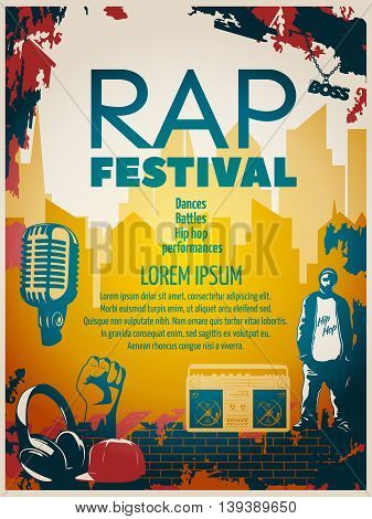 Colored hip hop poster or flyer with headline rap festival in modern style vector illustration