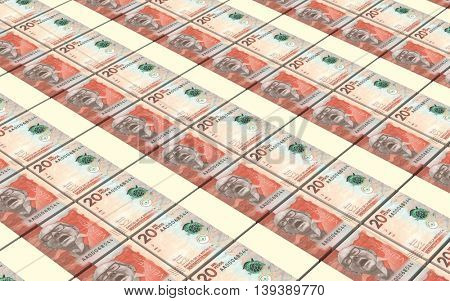 Colombian pesos bills stacks background. 3D illustration.