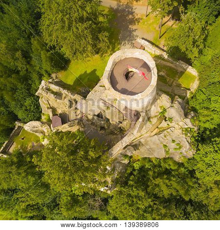 Ruins of gothic castle Frydstejn in National Park Cesky Raj (Czech Paradise). Aerial view to medieval monument in Czech Republic. Central Europe.