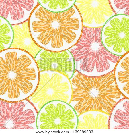 vector seamless pattern with fruits, bright pattern with citruses