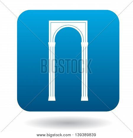 Rectangular arch icon in simple style in blue square. Construction and interiors symbol