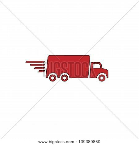 Delivery truck. Red flat simple modern illustration icon with stroke. Collection concept vector pictogram for infographic project and logo