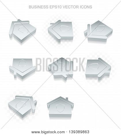Finance icons set: different views of flat 3d metallic Home icon with transparent shadow on white background, EPS 10 vector illustration.