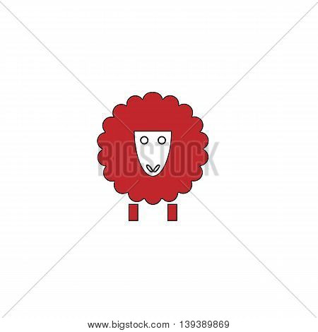 Sheep. Red flat simple modern illustration icon with stroke. Collection concept vector pictogram for infographic project and logo