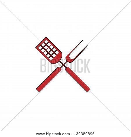 Barbecue utensils. Red flat simple modern illustration icon with stroke. Collection concept vector pictogram for infographic project and logo