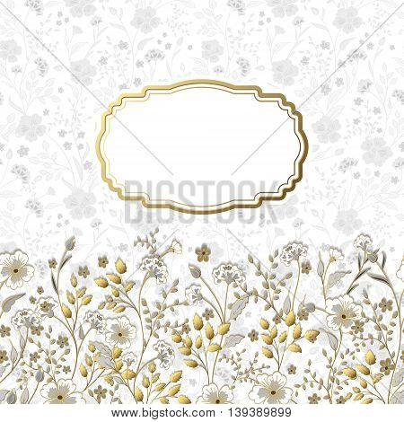 Template frame design for greeting card. Cute little flowers background. Gold gray beige with golden stroke herbs on white