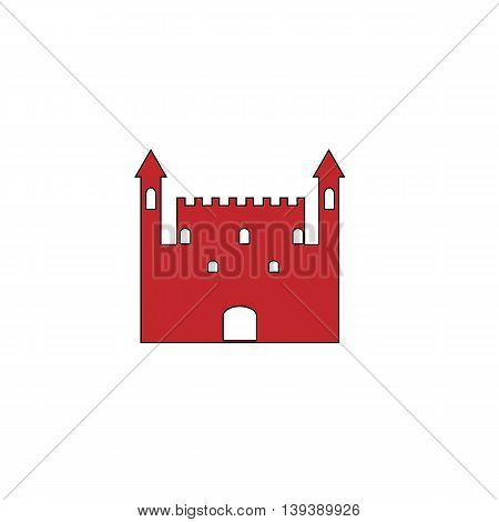 Castle. Red flat simple modern illustration icon with stroke. Collection concept vector pictogram for infographic project and logo