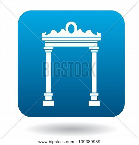 Eastern arch icon in simple style in blue square. Construction and interiors symbol