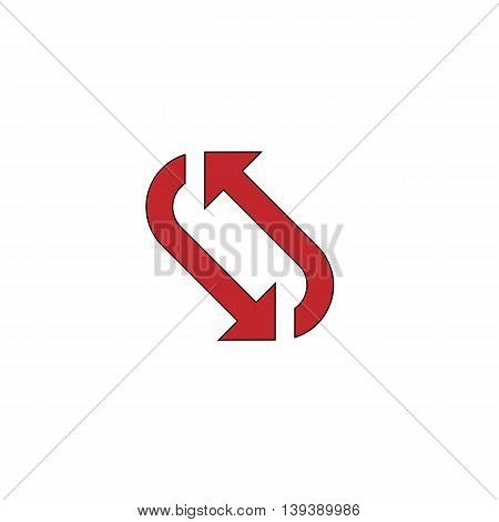 Repetition arrow. Red flat simple modern illustration icon with stroke. Collection concept vector pictogram for infographic project and logo