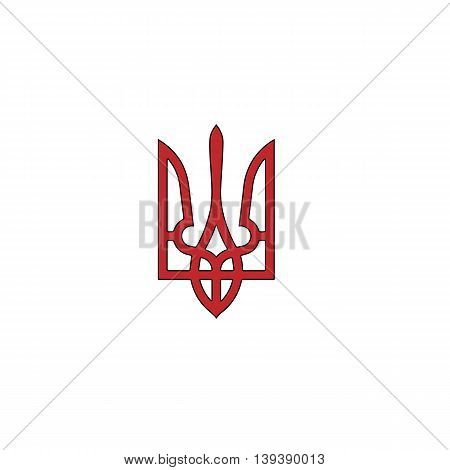 Trident. Red flat simple modern illustration icon with stroke. Collection concept vector pictogram for infographic project and logo