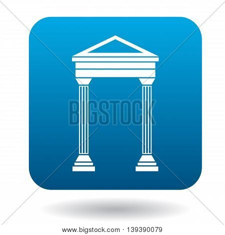 Arch with roof icon in simple style in blue square. Construction and interiors symbol
