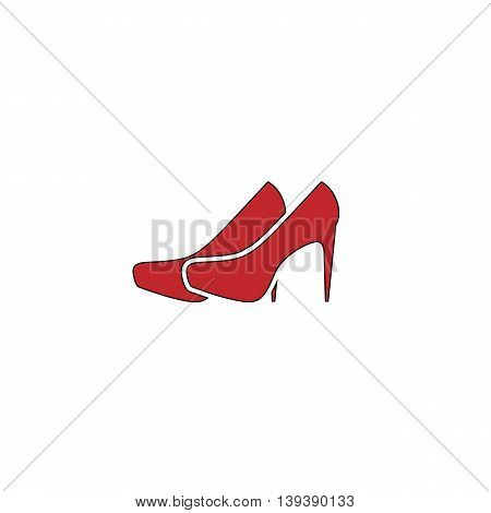 Pair of shoes. Red flat simple modern illustration icon with stroke. Collection concept vector pictogram for infographic project and logo