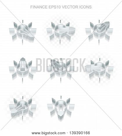 Finance icons set: different views of flat 3d metallic Light Bulb icon with transparent shadow on white background, EPS 10 vector illustration.
