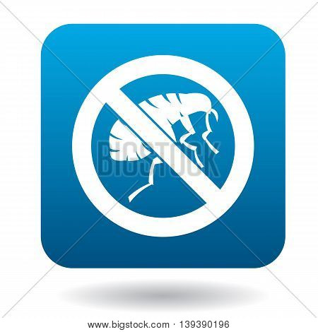 Sign prohibition of fleas icon in simple style in blue square. Insects symbol