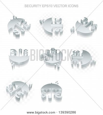 Security icons set: different views of flat 3d metallic Money And Umbrella icon with transparent shadow on white background, EPS 10 vector illustration.