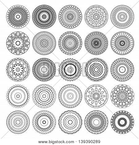 vector round mandalas and sacred geometry signs isolated on white