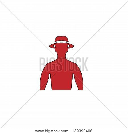 Man with broad-brim. Red flat simple modern illustration icon with stroke. Collection concept vector pictogram for infographic project and logo
