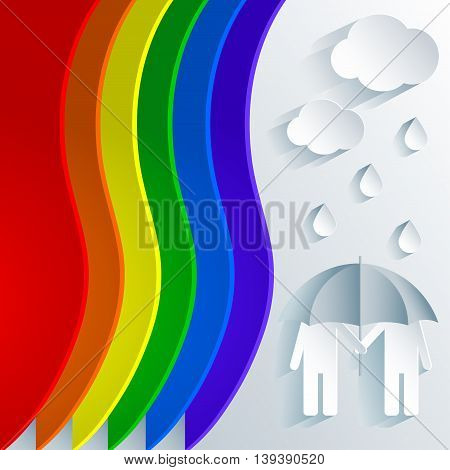 Rainbow palette with a decorative paper cutting out loving gay couple under an umbrella and rain. Abstract illustration for prints and backgrounds