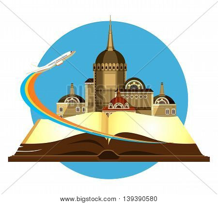 vector illustration round emblem of the beautiful old castle on a background of an open book airplane taking off