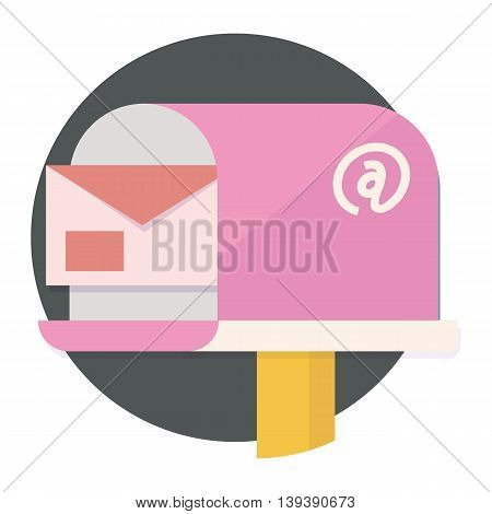 Mailbox with envelope and internet symbol in pink colors inside the circle, contact or communication, vector flat icons, web element infographics