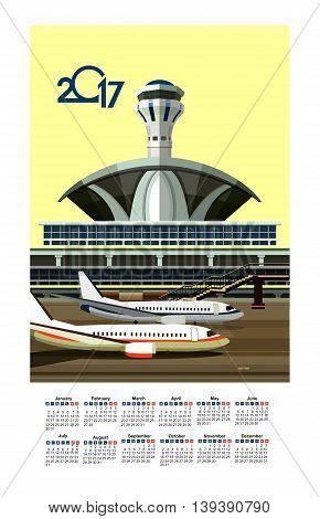vector illustration calendar 2017 airport building near airfield