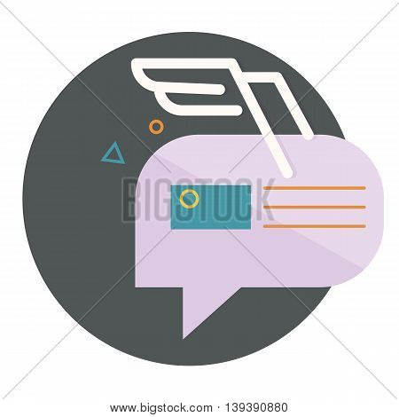 character dialogue combined with the image of the envelope with the white wings of the lines, with abstractions, vector flat icons, web element infographics