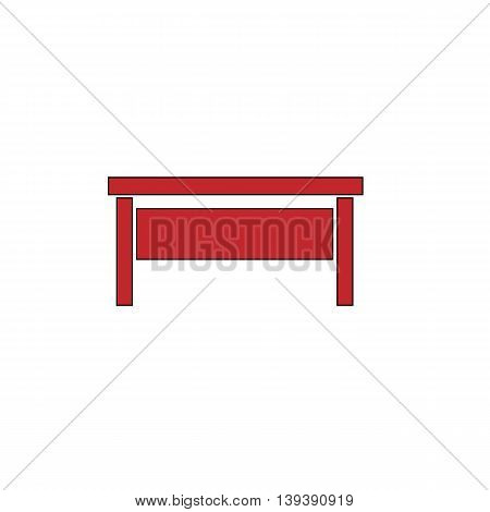 Writing desk. Red flat simple modern illustration icon with stroke. Collection concept vector pictogram for infographic project and logo