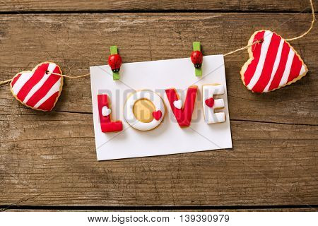 Love Cookies On Wooden Background