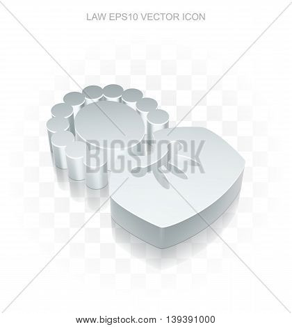 Law icon: Flat metallic 3d Judge, transparent shadow on light background, EPS 10 vector illustration.