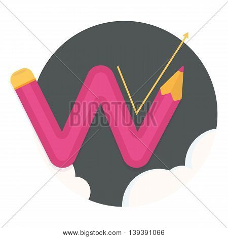 red zigzag curved pencil line with swelling and growth.Vector flat icons, web element infographics, progress or promotion.Vector flat icons, web element infographics, progress or promotion