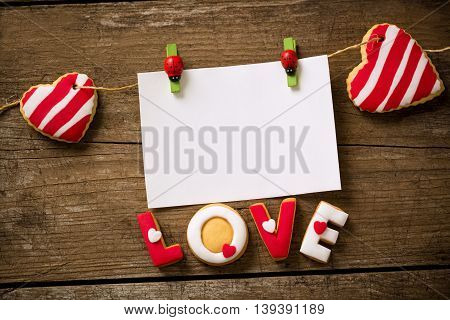 Valentine day message with sweet cookies, holiday concept