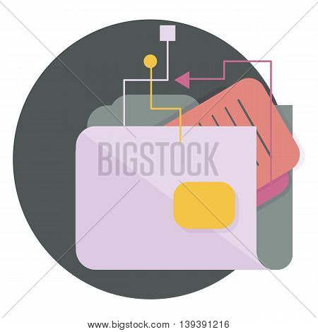 folder symbol with attached documents and abstract lines, Vector flat icons, web element infographics