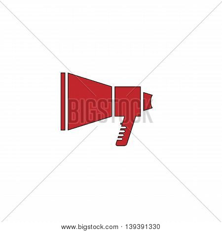 Megaphone. Red flat simple modern illustration icon with stroke. Collection concept vector pictogram for infographic project and logo