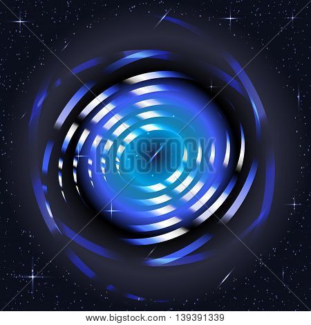 Blue abstract background with 3d rings and stars. Vector illustration in space or digital style