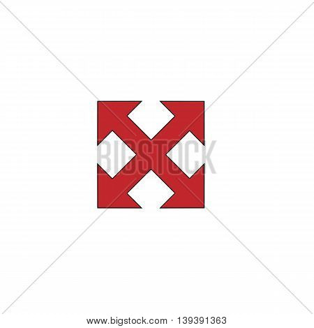 Four sides arrow. Red flat simple modern illustration icon with stroke. Collection concept vector pictogram for infographic project and logo