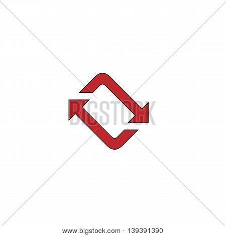 Spinning, rotating arrows. Red flat simple modern illustration icon with stroke. Collection concept vector pictogram for infographic project and logo