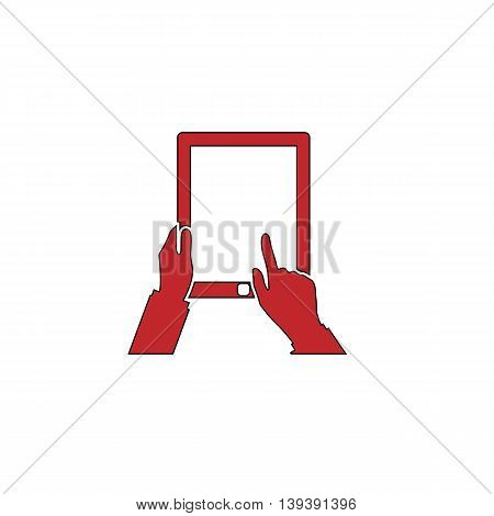 Tap And Hold - Tablet. Red flat simple modern illustration icon with stroke. Collection concept vector pictogram for infographic project and logo