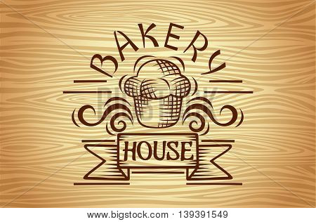 Set of vintage bakery labels badges and design elements Old style elements bread company bread house cafe cake shop.