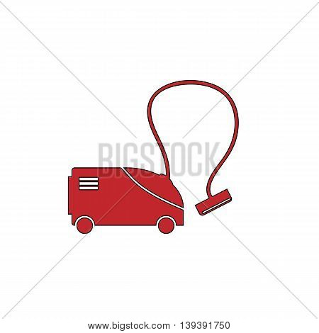 Vacuum cleaner. Red flat simple modern illustration icon with stroke. Collection concept vector pictogram for infographic project and logo