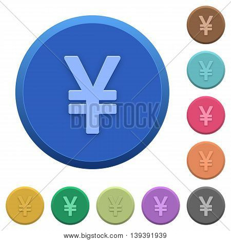 Set of round color embossed Yen sign buttons