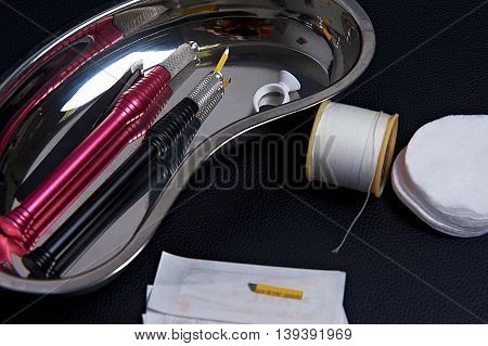 Tools for permament eyebrows make-up and thread correction on plate