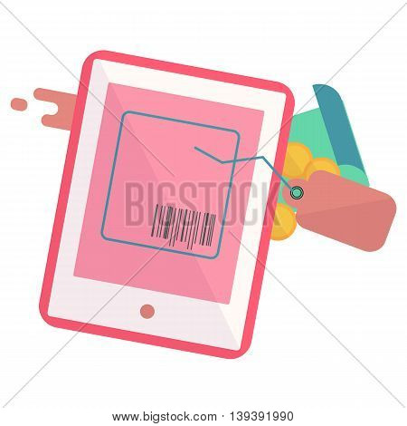 tablet with a tag and a piece of paper, Web analytics or promotion vector flat icons, element infographics,