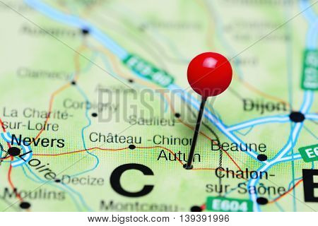 Autun pinned on a map of France