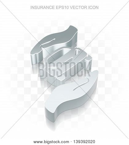 Flat metallic Insurance 3d Car And Palm icon, transparent shadow on light background, EPS 10 vector illustration.